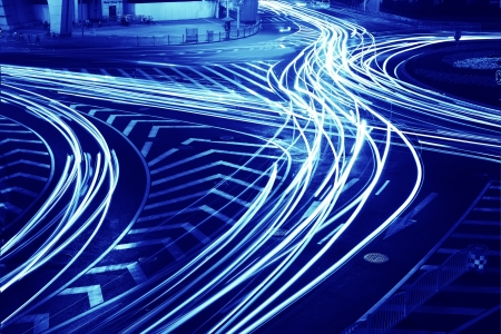 the light trails on the steet in shanghai china   photo