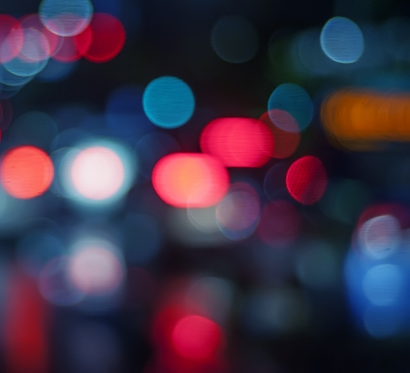car lights: Beautiful background on dark, out of Focus Lights during the Night