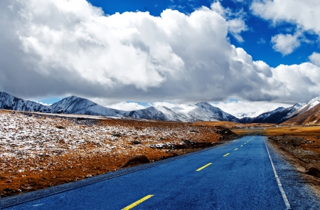 Snow mountain and road  photo