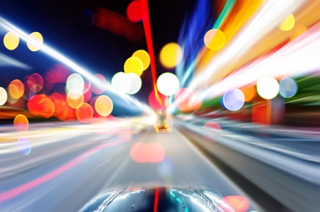 speed race: race, car, driver, way, street, acceleration, faster, travel, view, power, horizontal, line, traffic,  Stock Photo
