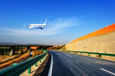 flight mode: Two ways to travel Stock Photo