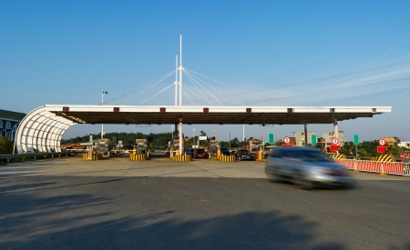 toll: China s highway toll and vehicle Stock Photo