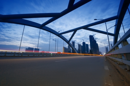 the night of modern bridge, the lights formed a line Stock Photo - 16975421