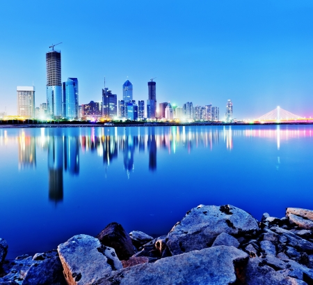 Night view of the waterfront cities  Nanchang, China  Stock Photo