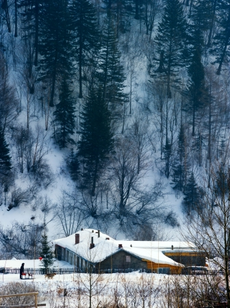 characteristic: The Chinese characteristic farmhouse snowscape