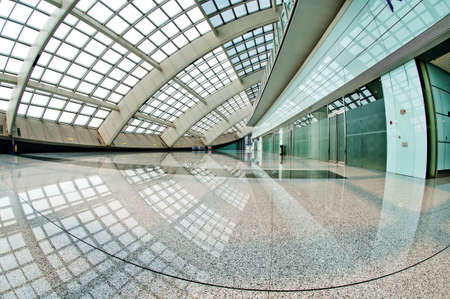 interior of the modern mall of beijin airport subway station   Editorial