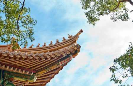 the eaves on the traditional palace in beijing photo