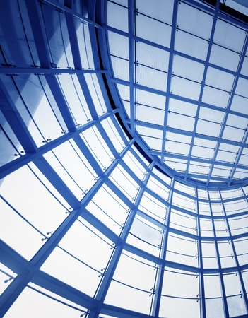 ceiling: Transparent glass ceiling, modern architectural interior. Stock Photo