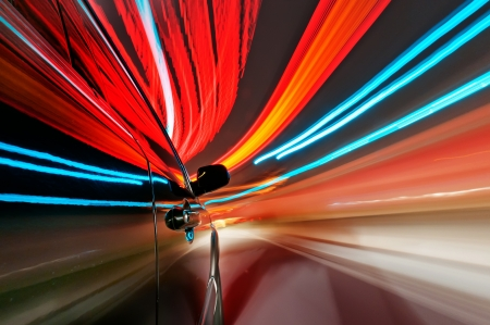 View from Side of Car Going Around Corner, Blurred Motion Stock Photo - 17842038