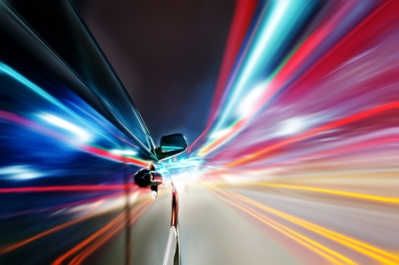 acceleration: car on the road wiht motion blur background.  Stock Photo