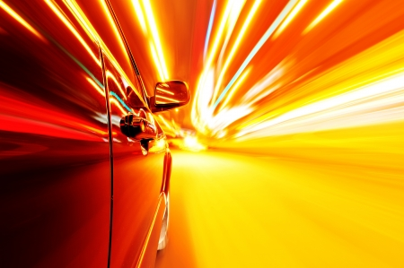 View from Side of Car Going Around Corner, Blurred Motion Stock Photo - 17837584