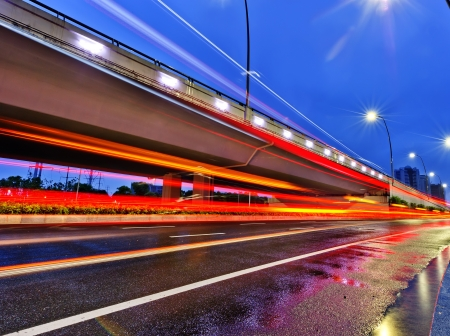 the night of modern bridge, the lights formed a line Stock Photo - 18541128