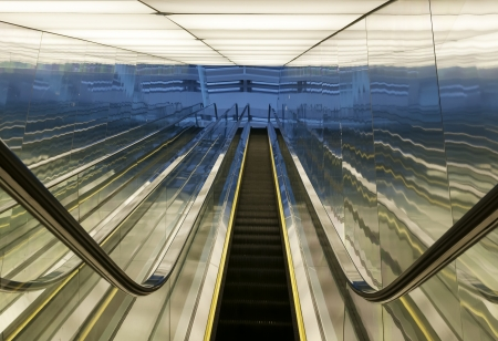 modern steps of moving business escalator  photo