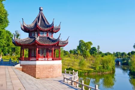 chinese temple: Blue sky , ancient Chinese architecture  garden  Stock Photo