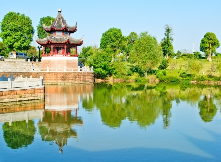 Blue sky , ancient Chinese architecture in suzhou: garden.  Stock Photo - 17842104