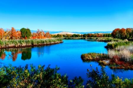 Kanasi Lake in autumn,Xinjiang,Chi na photo