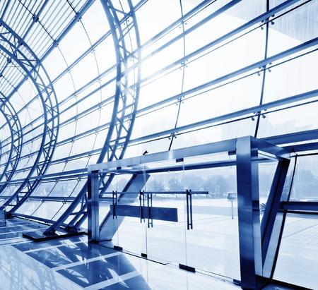 architectural interior: Transparent glass ceiling, modern architectural interior
