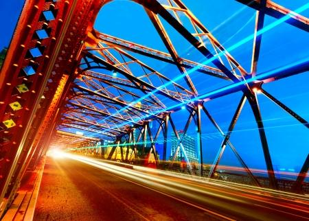 A historic bridge at Shanghai bund night  photo