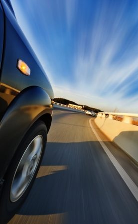 car on the road with motion blur background  photo