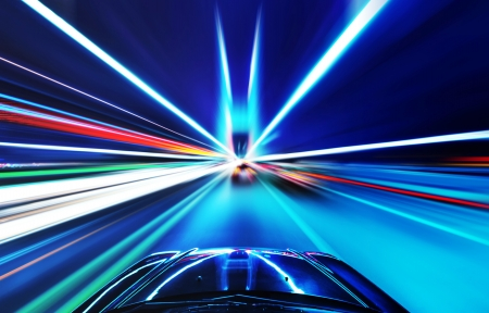 acceleration: High-speed car in the bridge, Motion Blur  Stock Photo