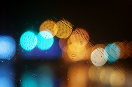 Wet the window with the background of the night city Stock Photo - 17842004