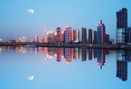 Night view of the waterfront cities: Nanchang, China