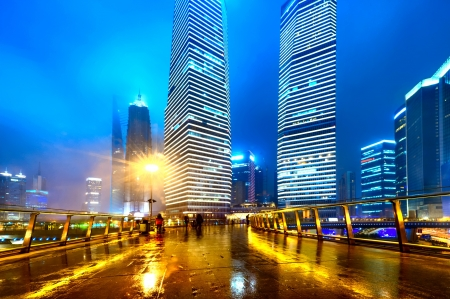 the modern building of the lujiazui financial centre in shanghai china.  photo