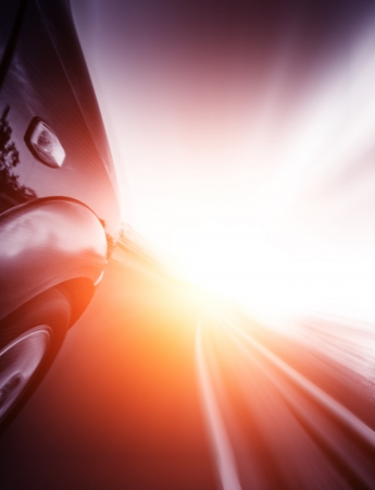 acceleration: car on the road with motion blur background.  Stock Photo