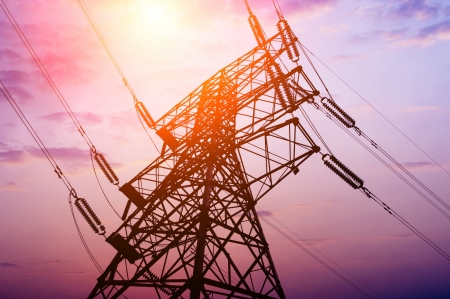 electric current: high voltage post High-voltage tower sky background