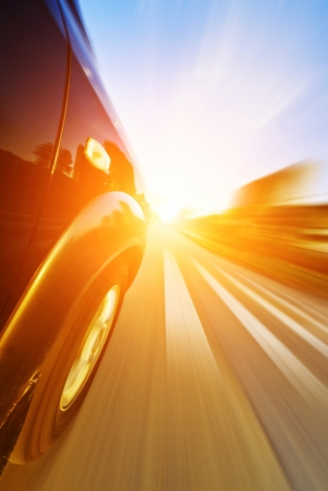 speedy: car on the road with motion blur background Stock Photo