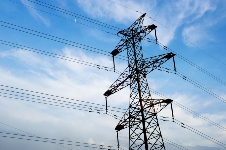 power line tower: high voltage post.High-voltage tower sky background.