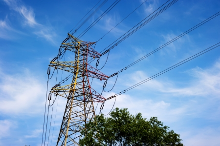 electricity grid: high voltage post.High-voltage tower sky background