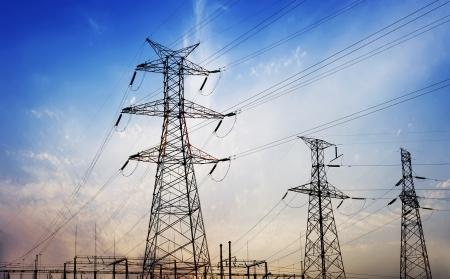 pylon: high voltage post.High-voltage tower sky background.