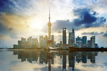 pudong: Beautiful Shanghai Pudong skyline  Stock Photo