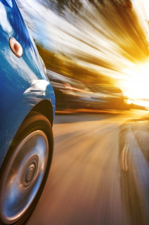 car on the road with motion blur background Stock Photo