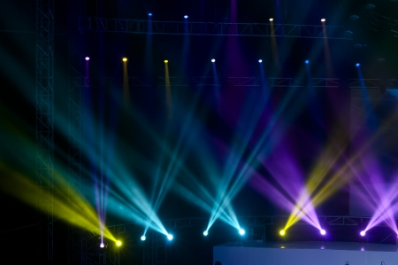 Vector Stage Spotlight with Laser rays photo