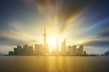 pudong district: Beautiful Shanghai Pudong skyline