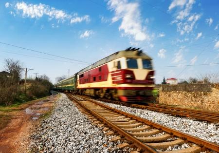 rail route: old stream train that runs through the countryside
