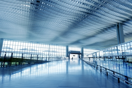 Modern Architecture of Hong Kong airport, walkway and roof Stock Photo