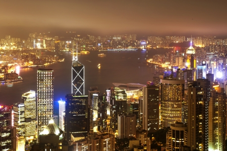 hk: Hong Kong night view, Hong Kong Island business district