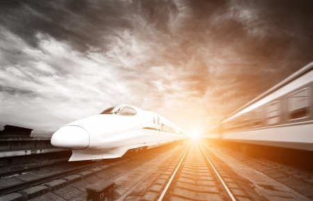 two modern high speed train with motion blur