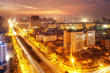 pu dong: Aerial view of city night
