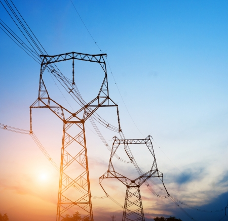 electric utility: high voltage post.High-voltage tower sky background