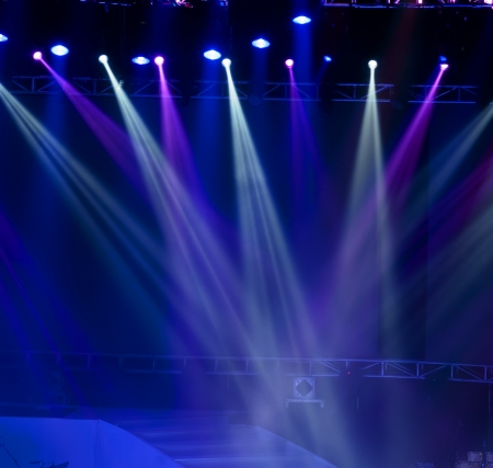empty stage:  Stage Spotlight with Laser rays Stock Photo