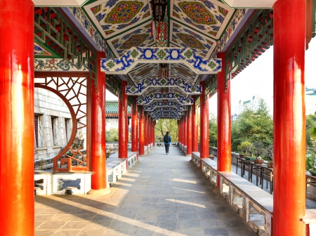 chinese courtyard: Historic Architecture of China,red corridor