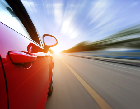 acceleration: car on the road with motion blur . Stock Photo