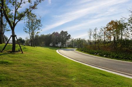 tilted view: asphalt roadway