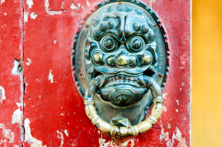 Oriental antique door knocker ancient architecture photo