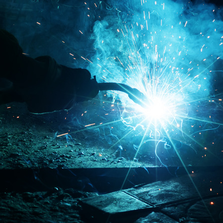 Welding with sparks photo