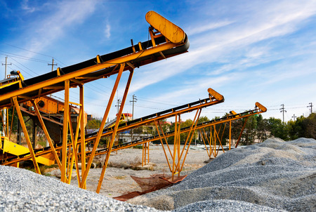 sand quarry: Open pit mining and processing plant for crushed stone, sand and gravel to be used in the roads and construction industry Stock Photo